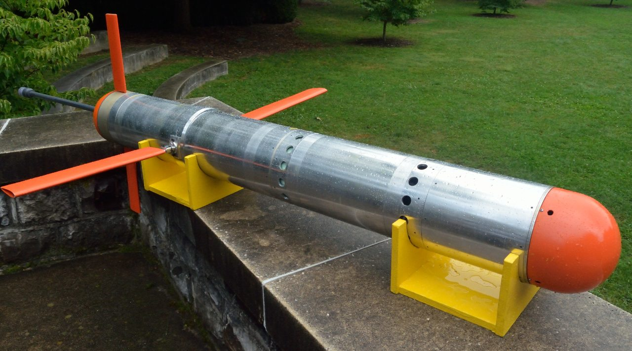 The Virginia Tech Underwater Glider, designed, fabricated and field tested by Artur Wolek while working as a doctoral student under the guidance of Craig Woolsey. Wolek's dissertation research, sponsored by ONR, focused on the development and validation of path planning algorithms for underwater gliders operating in shallow water and significant currents. In 2015, Dr. Wolek accepted a Postdoctoral Research Fellowship with the Naval Research Lab.